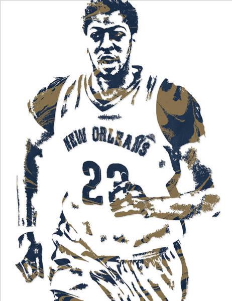Pelican Mixed Media - Anthony Davis New Orleans Pelicans Pixel Art 6 by Joe Hamilton