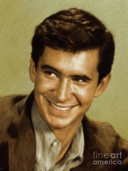 Psycho Painting - Anthony Perkins, Vintage Actor by Mary Bassett