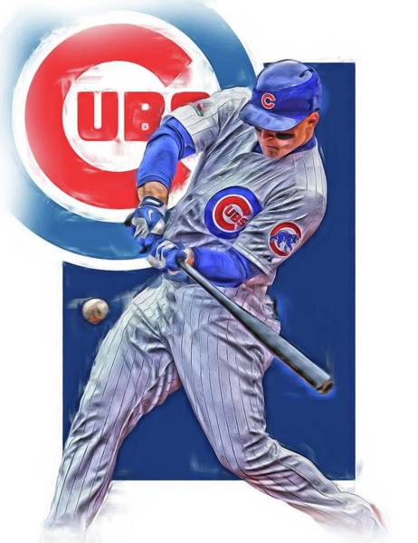 Outfield Wall Art - Mixed Media - Anthony Rizzo Chicago Cubs Oil Art by Joe Hamilton