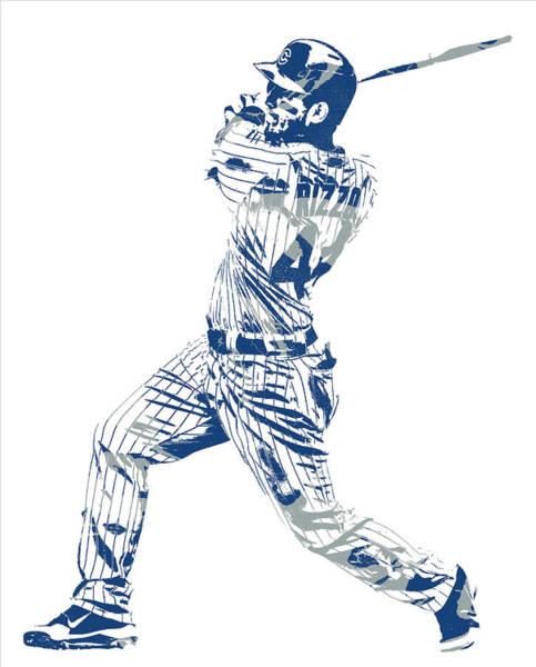 Wall Art - Mixed Media - Anthony Rizzo Chicago Cubs Pixel Art 20 by Joe Hamilton