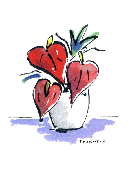 Painting - Anthurium Vase by Diane Thornton