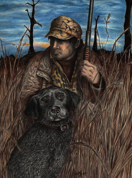 Duck Hunting Drawing - Anticipation by Kathleen Kelly Thompson