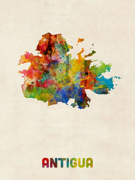 Wall Art - Digital Art - Antigua Watercolor Map by Michael Tompsett