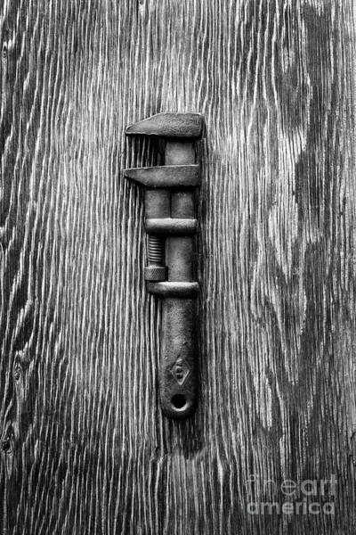 Wall Art - Photograph - Antique Adjustable Wrench Bw by YoPedro