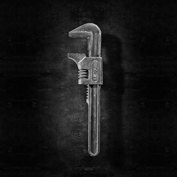 Wall Art - Photograph - Antique Adjustable Wrench Front In Bw by YoPedro