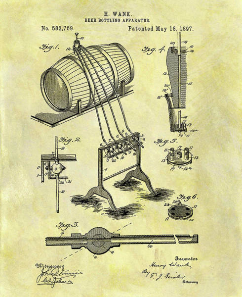 Whiskey Mixed Media - Antique Beer Bottling Patent by Dan Sproul