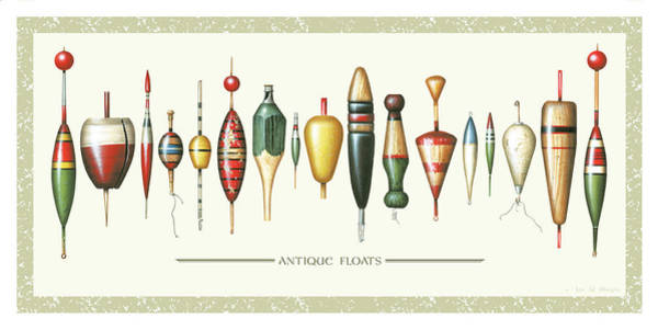 Wall Art - Painting - Antique Bobbers by JQ Licensing
