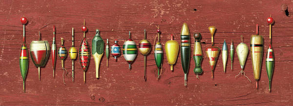 Angling Wall Art - Painting - Antique Bobbers Red  by JQ Licensing