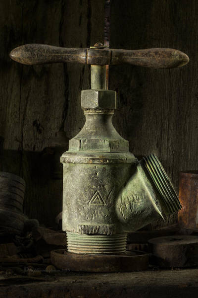 Photograph - Antique Brass T Valve by Fred Denner