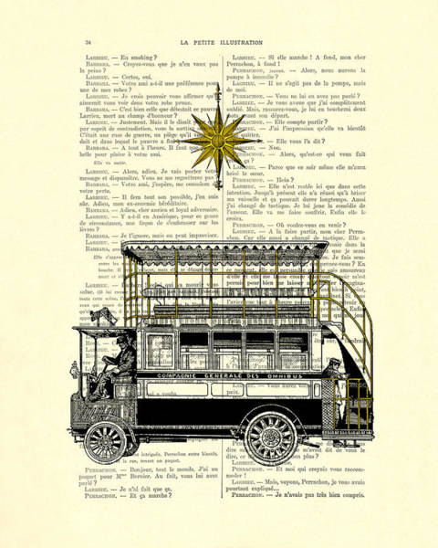 Transport Wall Art - Digital Art - Double-decker Bus Vintage Illustration Dictioanry Art by Madame Memento