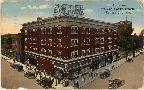 Wall Art - Photograph - Antique Cars In Front Of Brick Hotel by Gillham Studios