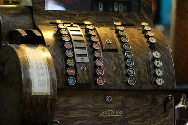 Photograph - Antique Cash Register In Honey Brown Tones by Colleen Cornelius