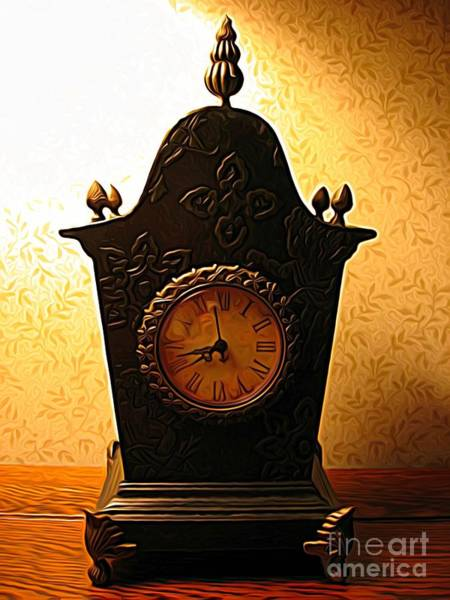 Mixed Media - Antique Clock Expressionist Effect by Rose Santuci-Sofranko
