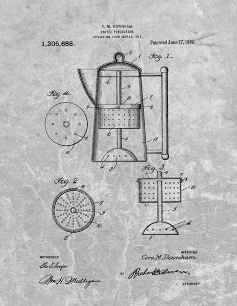 Coffee Drawing - Antique Coffee Percolator Patent by Dan Sproul