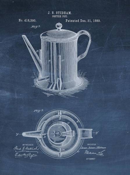 Drawing - Antique Coffee Pot Patent by Dan Sproul