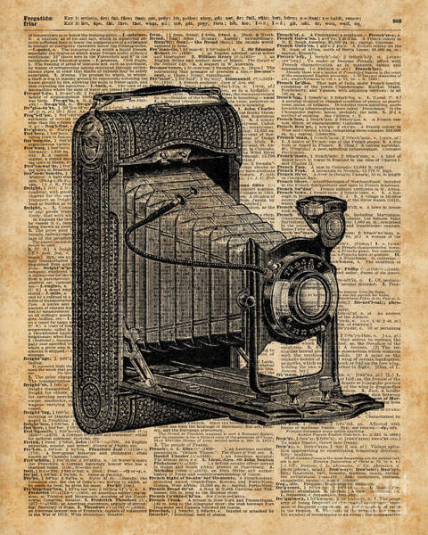 Bedding Digital Art - Antique Conley Camera,vintage Encyclopedia Book Page by Anna W