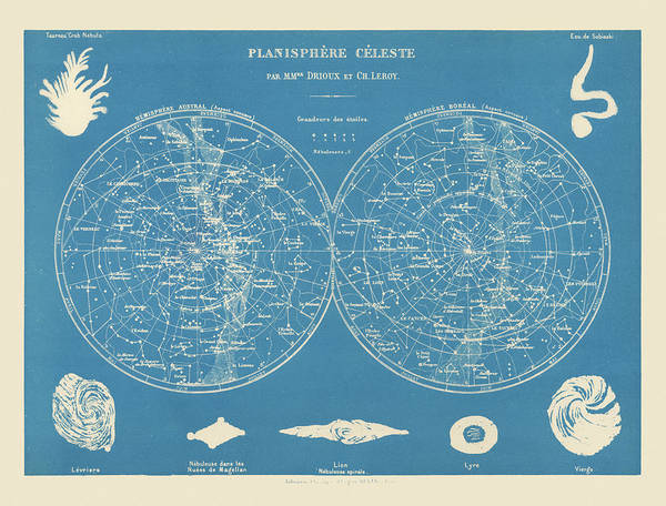 Wall Art - Drawing - Antique Constellation Map By Drioux And Leroy - 1886 by Blue Monocle