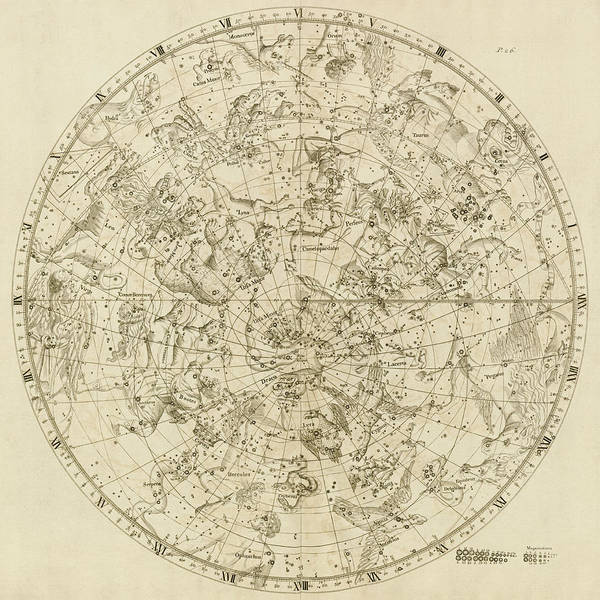 Wall Art - Drawing - Antique Constellation Map - Northern Hemisphere - By John Flamsteed - 1729 by Blue Monocle