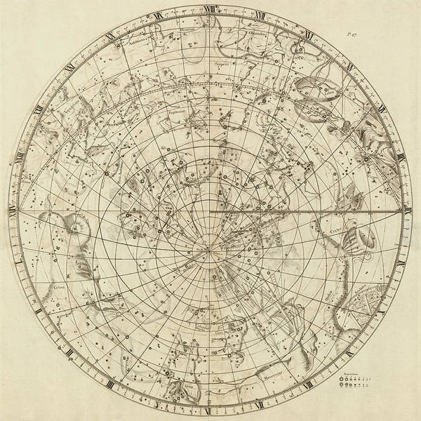 Wall Art - Drawing - Antique Constellation Map - Southern Hemisphere - By John Flamsteed - 1729 by Blue Monocle