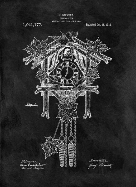 Cuckoo Drawing - Antique Cuckoo Clock Patent by Dan Sproul