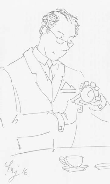 Drawing - Antique Dealer Cartoon - Beautiful Glaze On This Tea Cup by Mike Jory