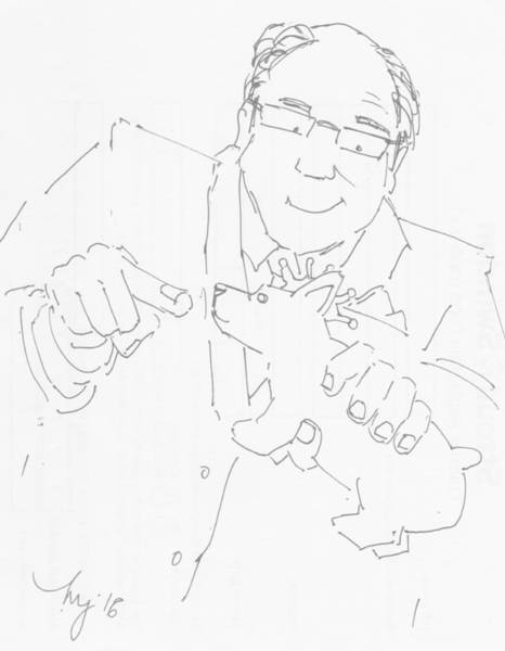 Drawing - Antique Dealer Cartoon - Royal Corgi Dog by Mike Jory