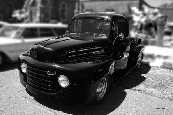 Photograph - Antique F1 Chevy Truck Bw by Lesa Fine