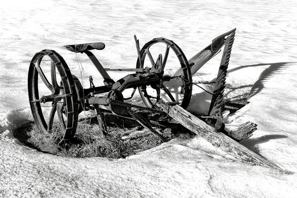 Wall Art - Photograph - Antique Farm Machine In Winter Snow by Olivier Le Queinec