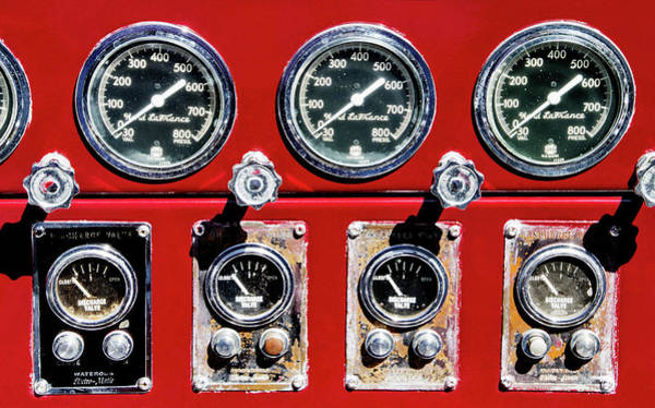 Photograph - Antique Fire Truck Gauges by Bob Slitzan