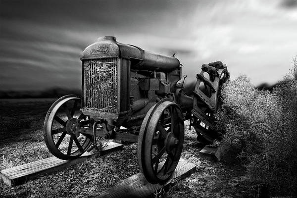 Wall Art - Photograph - Antique Fordson F Tractor Sunrise Sky In Bw by YoPedro