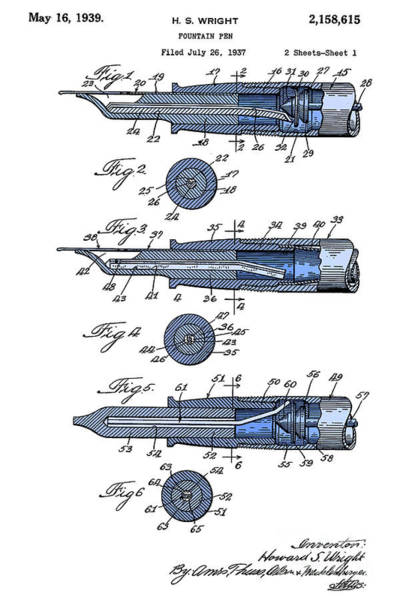 Wall Art - Digital Art - Antique Fountain Pen Patent, Year 1939, Blue On White by Drawspots Illustrations