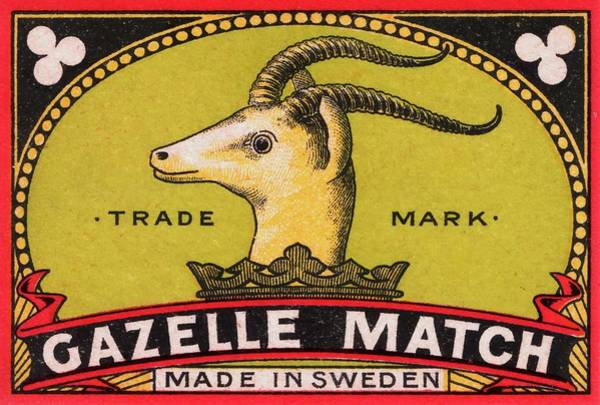 Regal Digital Art - Antique Gazelle Swedish Matchbox Label by Retro Graphics