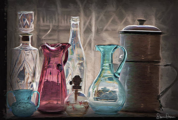 Shelves Mixed Media - Antique Glassware - Signed Limited Edition by Steve Ohlsen