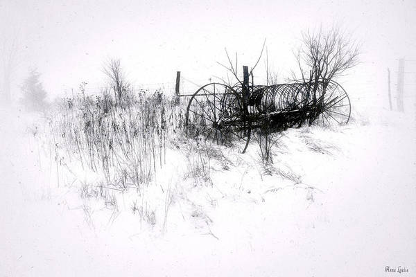 Photograph - Antique Hay Rake In Snow by Anna Louise