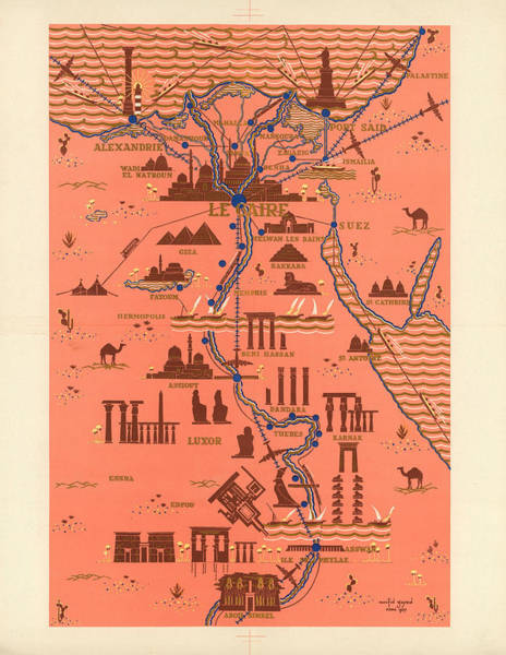 Wall Art - Mixed Media - Antique Illustrated Map Of Egypt _ Monuments Around River Nile - Cairo, Luxor, Abu Simbel by Studio Grafiikka