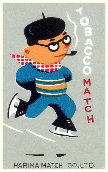 Matchbox Wall Art - Digital Art - Antique Japanese Matchbox Label Ice Skater Smoking A Pipe by Retro Graphics