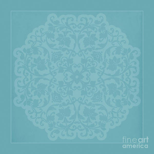 Girly Mixed Media - Antique Lace Silhouette In Deep Tiffany Blue Green by Tina Lavoie