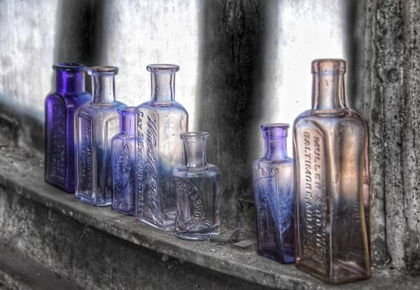 Photograph - Antique Lilac Purple Shade Glass Bottle Collection Baltimore - Maryland Glass Corporation by Marianna Mills