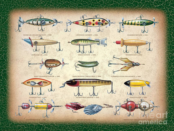 Painting - Antique Lures Panel by JQ Licensing
