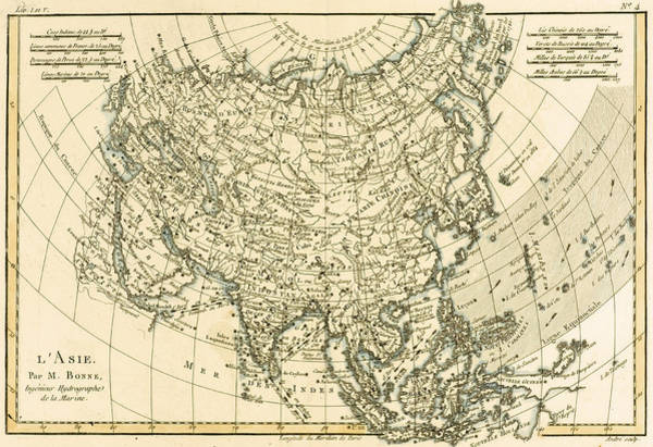 Mapping Drawing - Antique Map Of Asia by Guillaume Raynal
