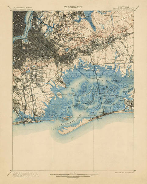 New York City Map Drawing - Antique Map Of Brooklyn And Queens - New York City - Usgs Topographic Map - 1900 by Blue Monocle