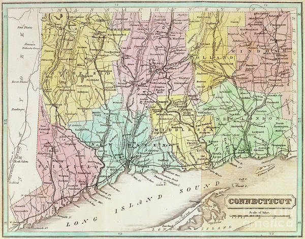 Fairfield Ct Drawing - Antique Map Of Connecticut by American School