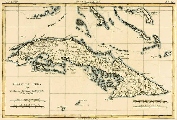 Geographical Wall Art - Drawing - Antique Map Of Cuba by Guillaume Raynal