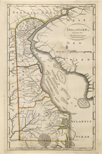 Wall Art - Drawing - Antique Map Of Delaware By Mathew Carey - 1814 by Blue Monocle