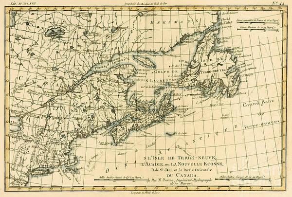 Les Drawing - Antique Map Of Eastern Canada by Guillaume Raynal