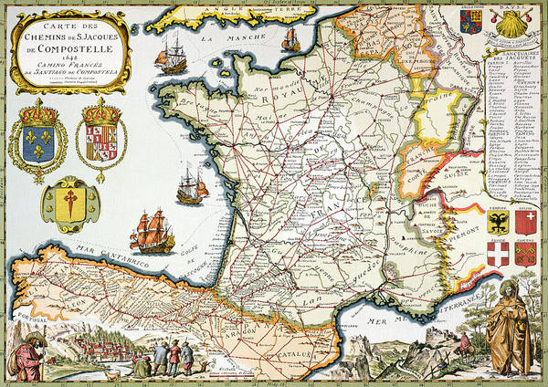 Historic Drawing - Antique Map Of France by French School