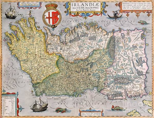 Geographical Wall Art - Drawing - Antique Map Of Ireland by  English School