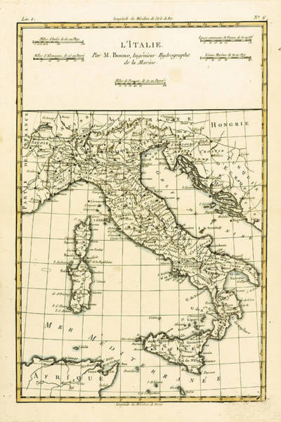 Geographical Wall Art - Drawing - Antique Map Of Italy by Guillaume Raynal