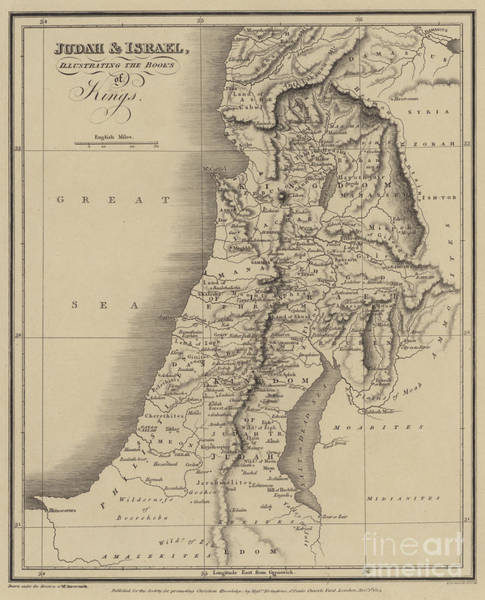 Historic Drawing - Antique Map Of Judah And Israel by English School