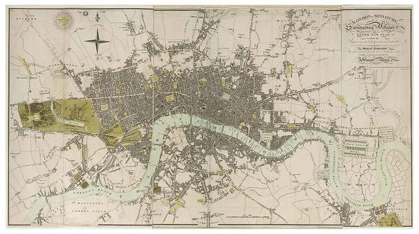 Antique Map Of London - Old Cartographic Maps - London In Miniature, 1807 By Edward Mogg Art Print